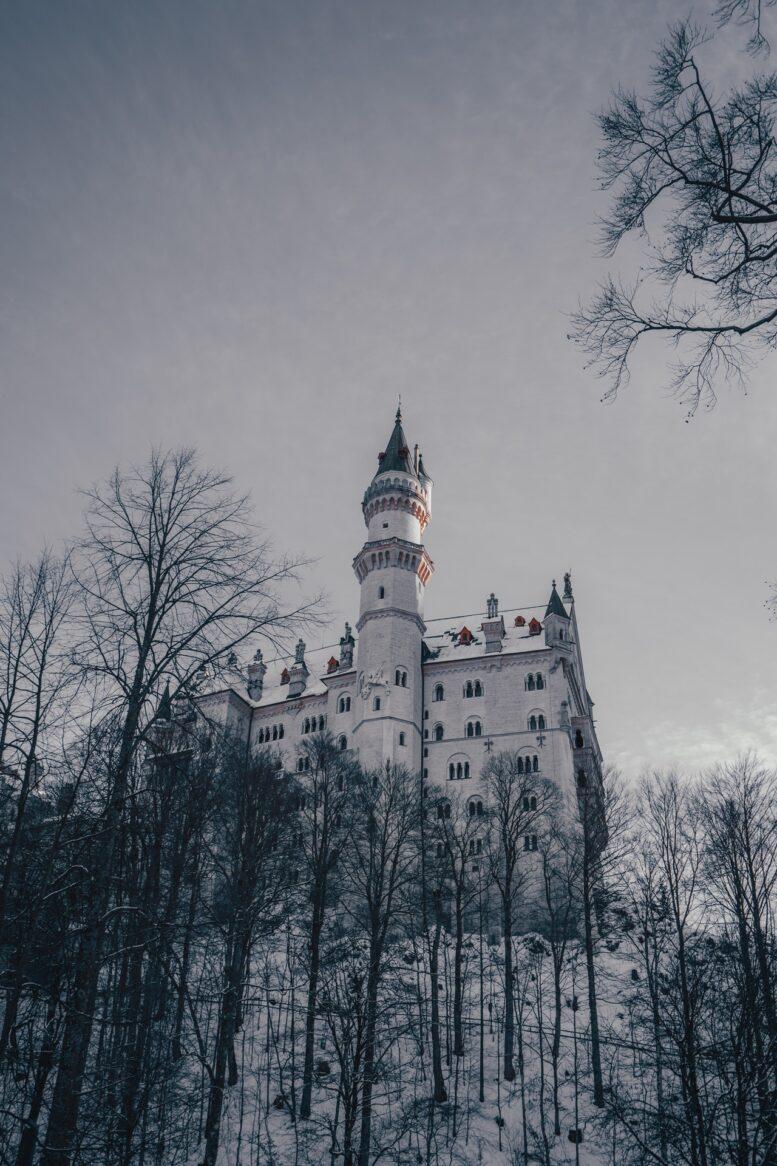 zamek zimą